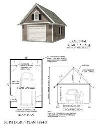 single car garage plans large colonial style one car garage plan no 384 3 by behm design