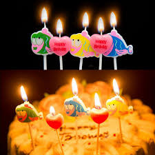 5pcs kids lovely cartoon celebrate birthday cake candles colorful