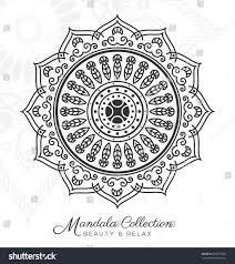 tibetan mandala decorative ornament design coloring stock vector
