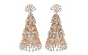 heavy diamond earrings look manish malhotra s heavy duty diamond jhumkas vogue
