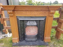 132 cast iron fireplace surround fire wood tiled antique victorian