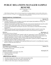 Example Education Resume by Public Relations Resume Template