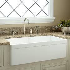 Kitchen Faucet For Granite Countertops Kitchen Gorgeous Double Bowl Fireclay Apron Front Sink With