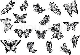 black and white vector doodle sketch butterflies set with various