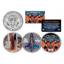 shuttle columbia sts 107 in memoriam colorized jfk half dollar