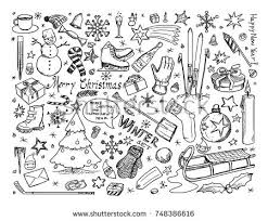 theme line winter set vector icons drawing doodles winter stock photo photo vector