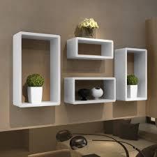 etagere chambre adulte etagères murale de rangement en mdf avec 4 cubes blanc brillant