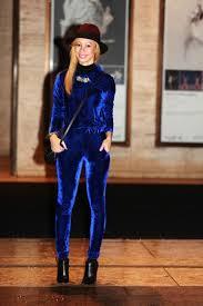 blue velvet jumpsuit poshestyle nyfw day3 royal blue velvet jumpsuit poshestyle