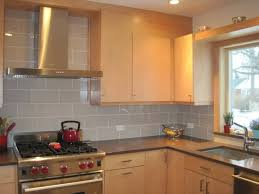 minimalist kitchen with light grey subway tile backsplash design