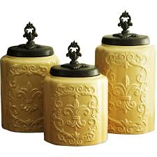 Orange Kitchen Canisters by Kitchen Certified International Tuscan Rooster 3 Piece Canister