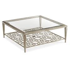 square metal coffee table worlds away quadro square coffee table with beveled glass hammered