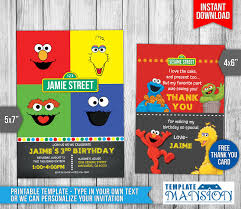 sesame street birthday invitation invite psd templatemansion