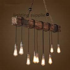Hanging Light Fixtures For Dining Rooms Loft Style Creative Wooden Droplight Edison Vintage Pendant Light