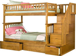twin over twin bunk beds with stairs white stained wooden girls