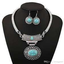 turquoise stone necklace set images Vintage turquoise stone necklace silver plated tibetan big water jpg