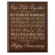 65th wedding anniversary gifts 65th wedding anniversary wall plaque gifts for