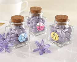 favor jars personalized square glass favor jar with cork stopper set of 12