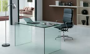 Glass Office Desks For Home  EyeCatching Glass Topped Tempered Desks
