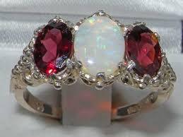 large ladies rings images 925 sterling silver natural opal and garnet womens jpg