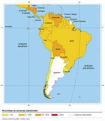 Sur America Map by Undernourished Population In South America 2003 Full Size