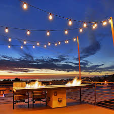 Outdoor Commercial Lights 25 Warm White Led S14 Heavy Duty Hanging String Light Sets On