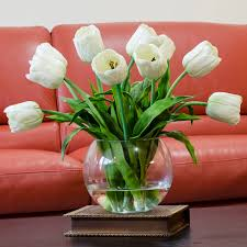 Artificial Flower Decorations For Home Large Real Touch Tulip Arrangement With White Tulip Flowers