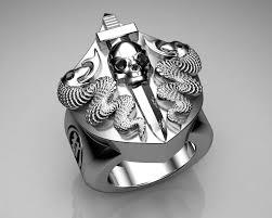 mens sterling rings images Unique mens ring snake and skull shield ring sterling silv flickr jpg