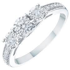 3 engagement ring 9ct white gold 0 25ct illusion set 3 diamond ring ernest jones