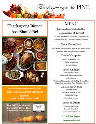 thanksgiving made easy f j pine restaurant