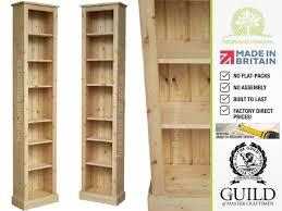 narrow bookcase oak solid pine or oak 7ft tall narrow slim jim bookcase