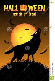 halloween background black cat howling wolf with halloween background stock vector image 77583600