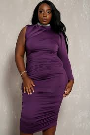 purple strappy one shoulder long sleeve ruched side dress plus