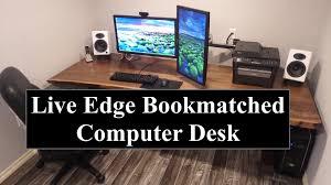 live edge computer desk live edge book matched computer desk build youtube