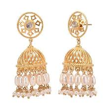 jumka earrings unique light weight gold plated temple jhumka earrings by missori