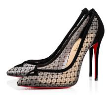 christian louboutin neoalto 100 dentelle black lame pumps hewi