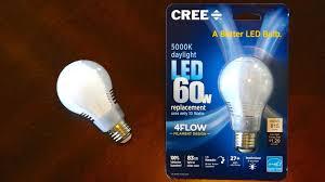 daylight led light bulbs cree 4 flow 10watt daylight a19 led light bulb youtube