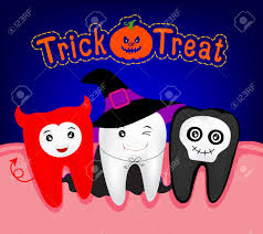 happy halloween of teeth monster witch and ghost funny cute