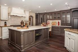 modular shaped dark kitchen cabinets with light island for small