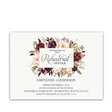 Rehearsal Dinner Invites Floral Wedding Rehearsal Dinner Invitations Burgundy Wine