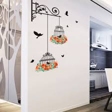 bird cage flower vine wall stickers art decal home decor mural features high quality brand new material nontoxic pvc which removable without residue remaining the surface non toxic environmental protection