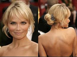 hot to do an upsweep on shoulder length hair blonde messy bun with bangs for medium length hair styles