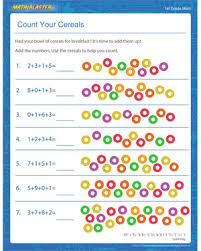addition worksheets for grade 1 count your cereals free addition worksheet for grade 1 math
