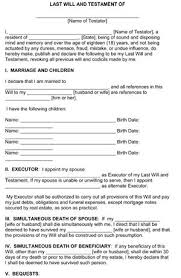 Wills Templates last will and testament template form illinois template
