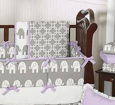 gray white purple elephant unisex baby boy crib bedding set