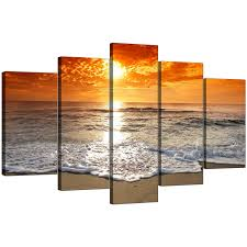 5 piece living room set beach sunset canvas prints for your living room 5 part