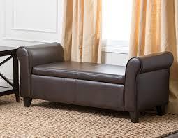 Living Room Furniture With Storage Amazon Com Abbyson Easton Bonded Leather Storage Ottoman Bench