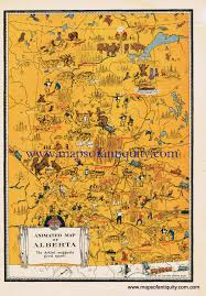 Oklahoma Treasure Maps Animated Map Of Alberta Sold Antique Maps And Charts