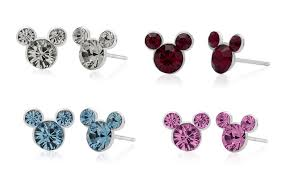 s birthstone earrings disney s mickey mouse birthstone earrings in sterling