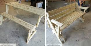 picnic table bench plans how to make folding bench and picnic table combo diy crafts