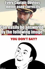 Captain Obvious Meme - image tagged in captain obvious you don t say imgflip